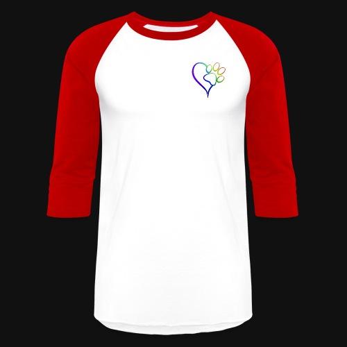 Paw Print on my Heart Rainbow Bridge - Unisex Baseball T-Shirt
