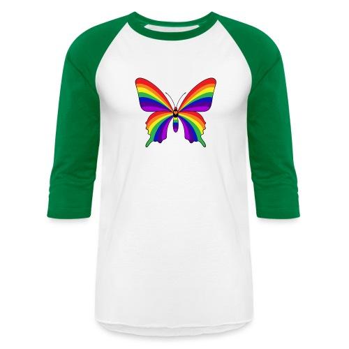 Rainbow Butterfly - Unisex Baseball T-Shirt