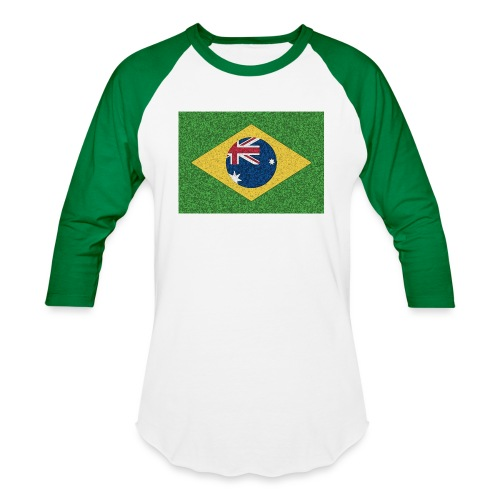 Brazil flag with Australia Twist - Baseball T-Shirt