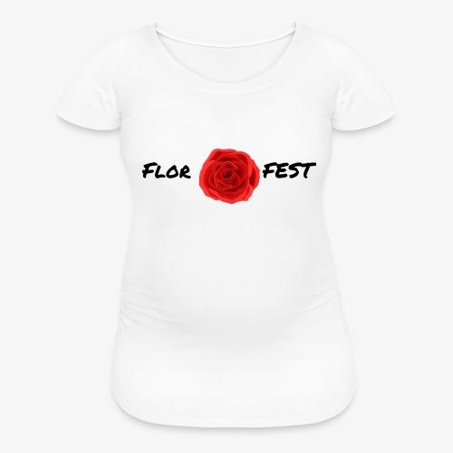 flor fest | black text - Women's Maternity T-Shirt