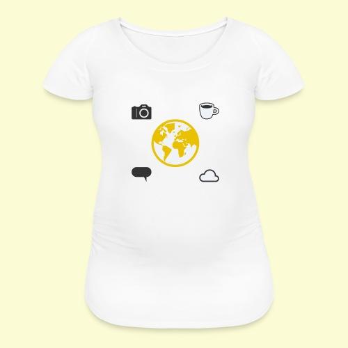 Yellow world print - Women's Maternity T-Shirt