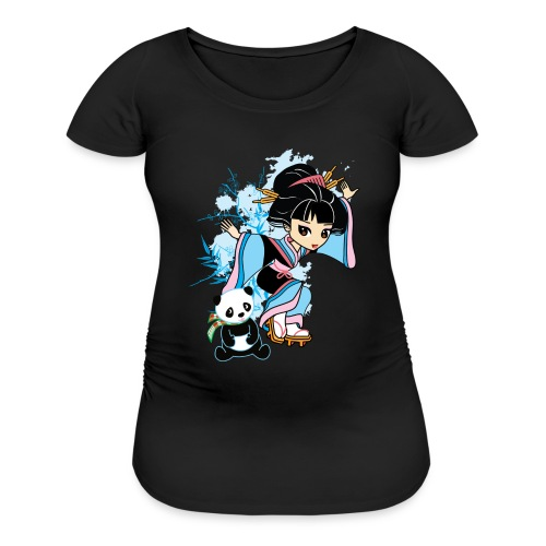 Cartoon Kawaii Geisha Panda Ladies T-shirt by - Women's Maternity T-Shirt