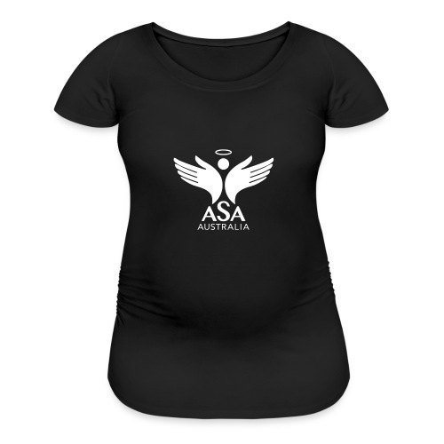 3459 Angelman Logo AUSTRALIA FA WHITE LR - Women's Maternity T-Shirt