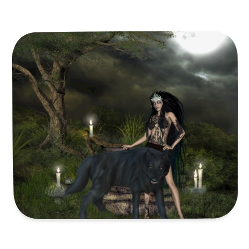 Awesome black wolf with wonderful dark fairy - Mouse pad Horizontal