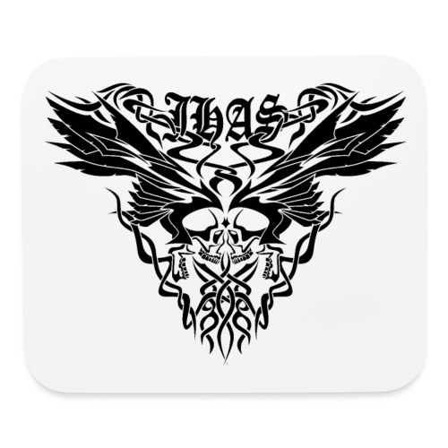 Vintage JHAS Tribal Skull Wings Illustration - Mouse pad Horizontal