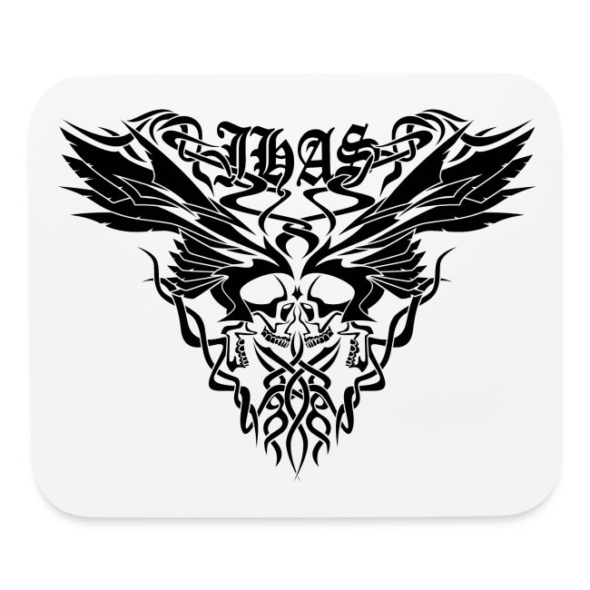 Vintage JHAS Tribal Skull Wings Illustration