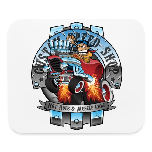 Custom Speed Shop Hot Rods and Muscle Cars Illustr - Mouse pad Horizontal