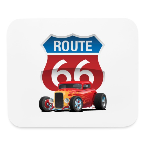 Route 66 Sign with Classic American Red Hotrod - Mouse pad Horizontal