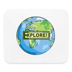EXPLORE! Logo on the Earth - Mouse pad Horizontal