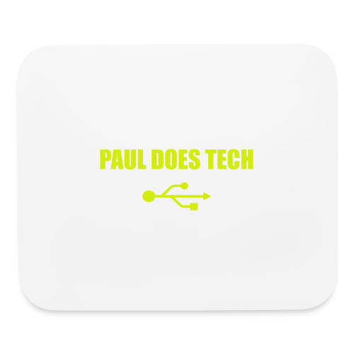 Paul Does Tech Yellow Logo With USB (MERCH) - Mouse pad Horizontal