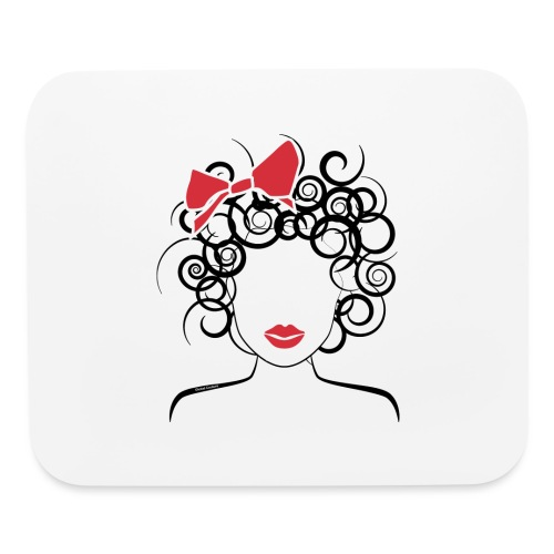 Curly Girl with Red Bow_Global Couture_logo T-Shir - Mouse pad Horizontal