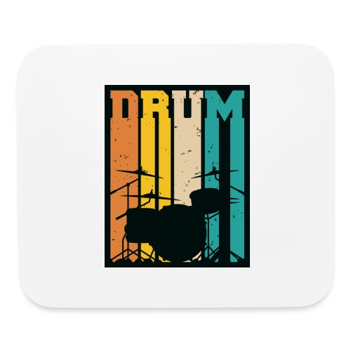 Retro Drum Set Silhouette Illustration - Mouse pad Horizontal